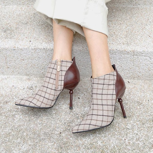 Stiletto Heel Plaid Patchwork Pointed Toe Women's Ankle Boots