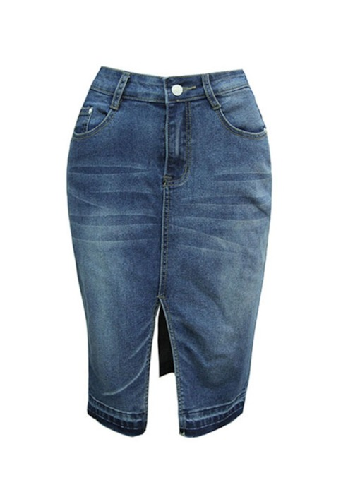 Knee Length Bodycon Front Split Women's Denim Skirt