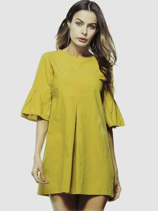 Yellow Bell Sleeve Loose Women's Day Dress