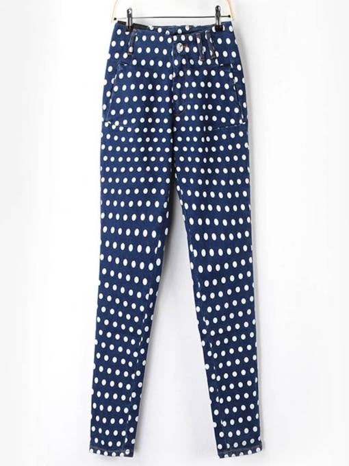 Polka Dots High Waist Women's Jeans