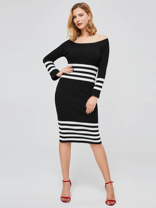 Boat Neck Long Sleeve Stripe Knit Dress