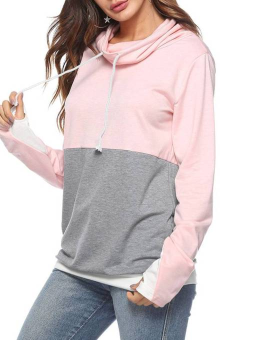 Drawstring Heap Collar Contrast Color Women's Sweatshirt