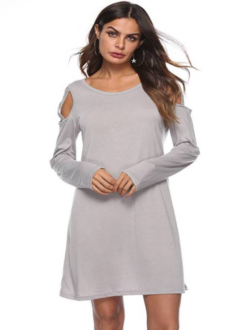 Long Sleeve Casual Plain Women's Day Dress