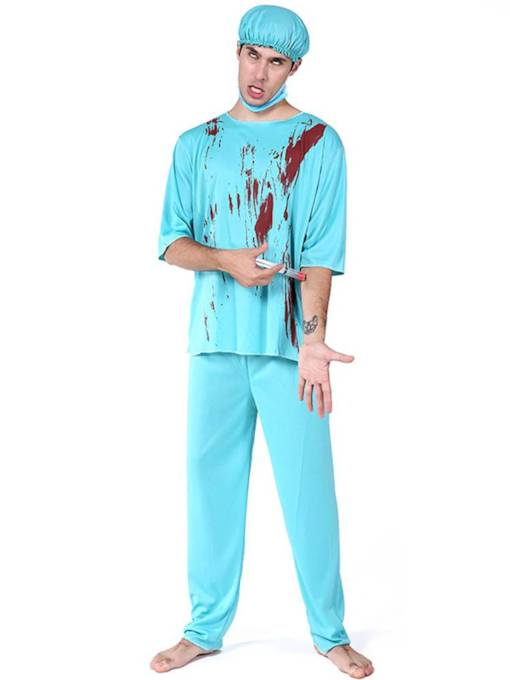 Male Doctor Blood Halloween Costume without Prop on Hand