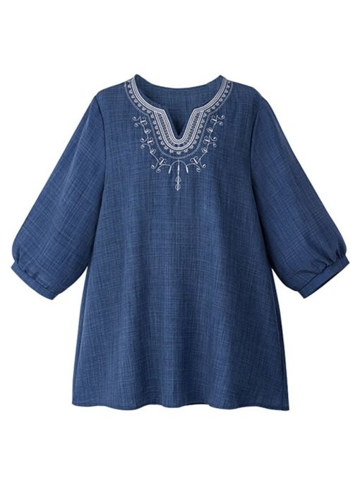 Plus Size Embroidery Half Sleeve Women's Blouse