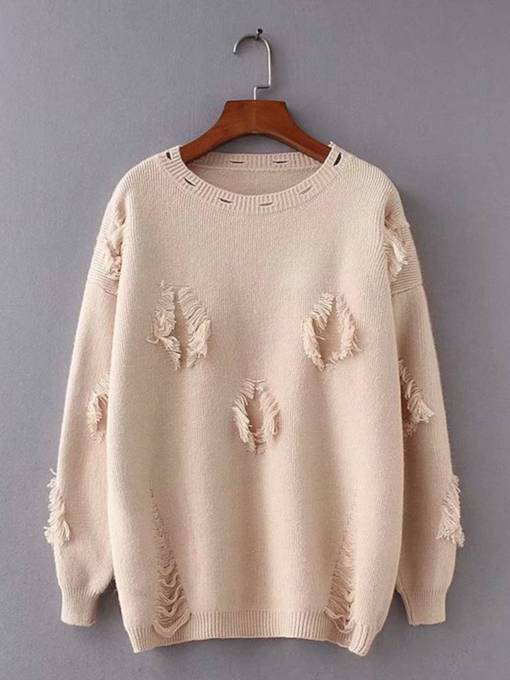Ripped Round Neck Loose Fit Women's Sweater