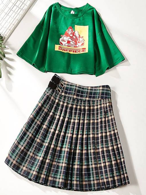 Letter Print T-Shirt and Pleated Skirt Women's Two Piece Set