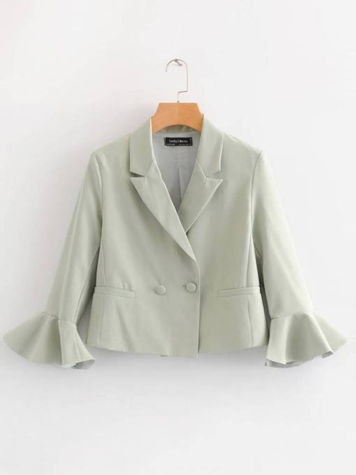 Flare Sleeve One Button Solid Color Women's Jacket