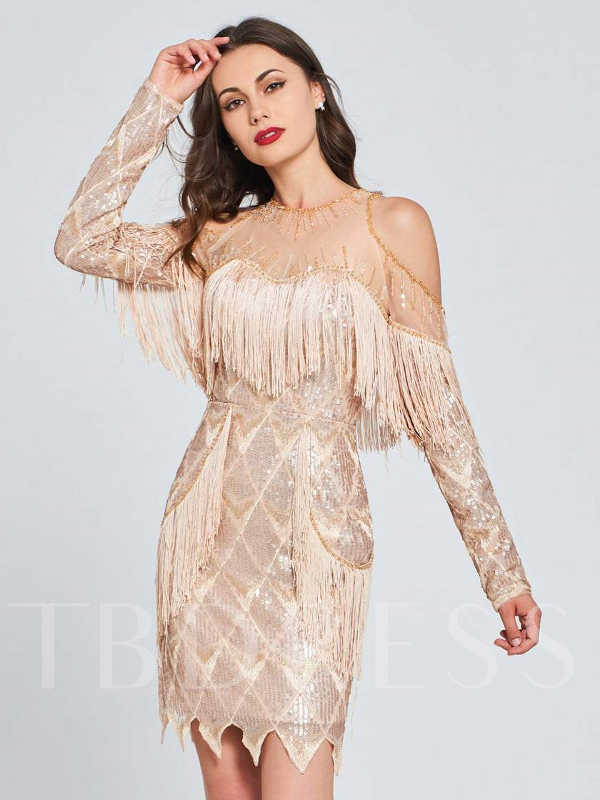 Sheath Lace Jewel Beaded Tassel Homecoming Dress