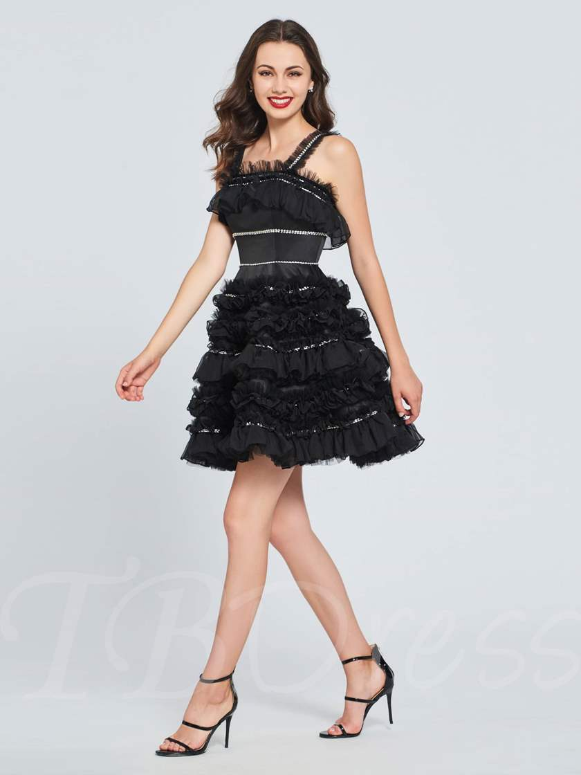 A-Line Beading Ruched Mini Homecoming Dress