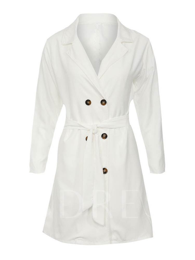 Tight Waist Double Breasted Lace Up Women's Trench Coat