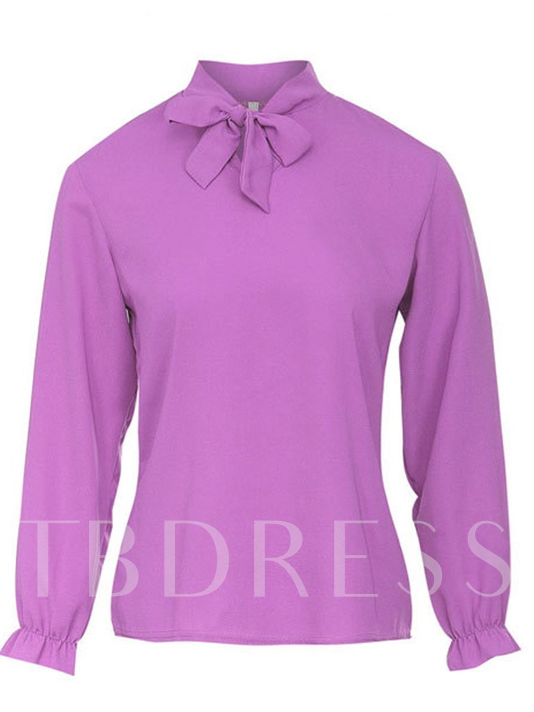 Tie Neck Stand Collar Ruched Women's Blouse