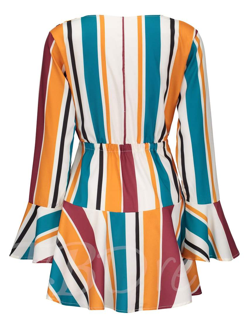 Flare Sleeve High Waist Stripe Day Dress