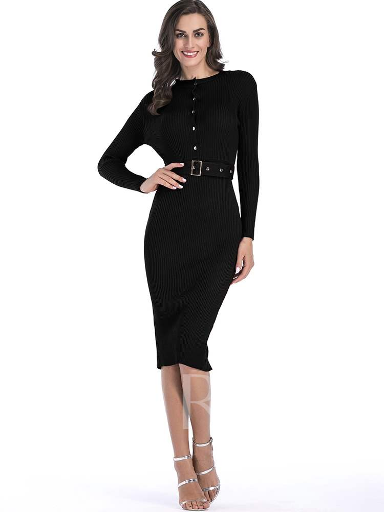 Buy Round Neck Button Belt Long Sleeve Sweater Dress, Spring,Fall, 13380688 for $16.91 in TBDress store
