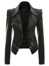 Chic Lapel Zipper Up Slim Fit Women's PU Jacket