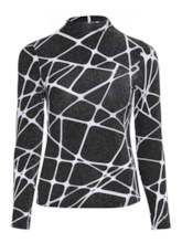 Geometric Print Turtleneck Women's T-Shirt