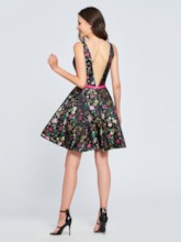 A-Line V-Neck Printed Sashes Homecoming Dress