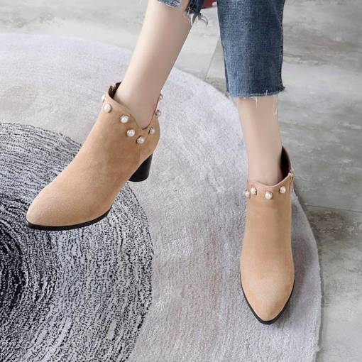 Suede Round Toe Side Zipper Bead Women's Ankle Boots