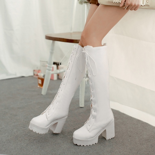 Round Toe Lace-Up Front Chunky Heel Women's Knee High Boots