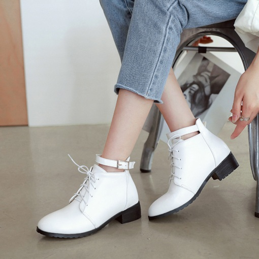 Lace-Up Front Buckle Round Toe Ladylike Women's Ankle Boots