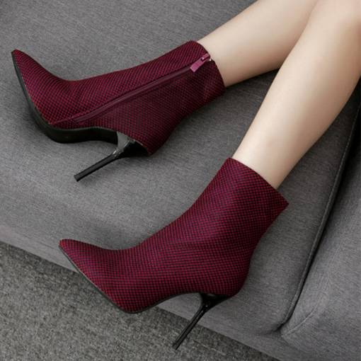 Pointed Toe Side Zipper Stiletto Heel Cloth Women's Ankle Boots