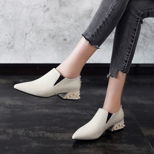 Elastic Band Bead Pointed Toe Block Heel Chic Women's Pumps