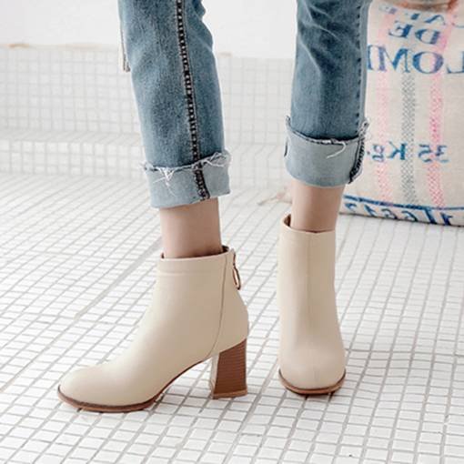 Back Zip Round Toe Chunky Heel Plain Women's Ankle Boots