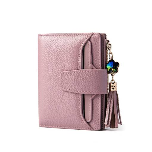 Plain PU Tassel Hasp Women Wallet