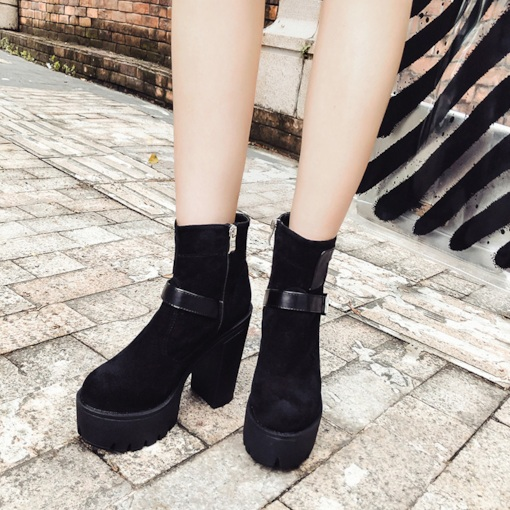 Side Zipper Suede Platform Buckle Fashion Women's Ankle Boots