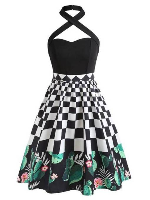 Sleeveless Prints High Waist Vintage Dress