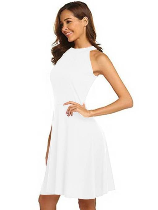 Sleeveless Plain Bowknot A-Line Day Dress