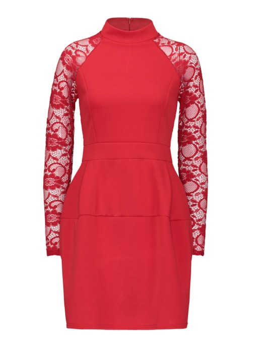 Stand Collar Lace Sleeve Bodycon Dress