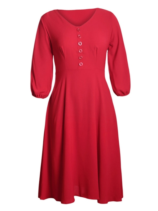 Half Sleeve Button A-Line Day Dress