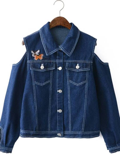 Cold Shoulder Embroidery Loose Fit Women's Denim Jacket