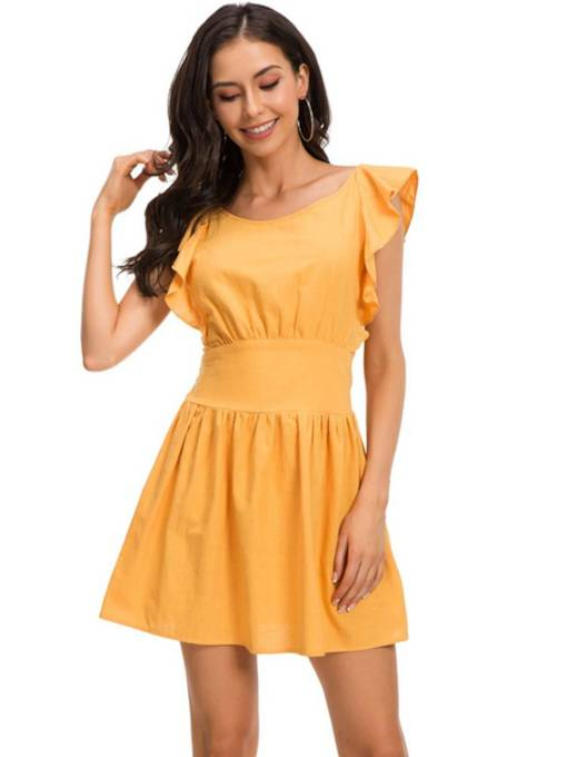 Round Neck Ruffle Sleeve High Waist Day Dress