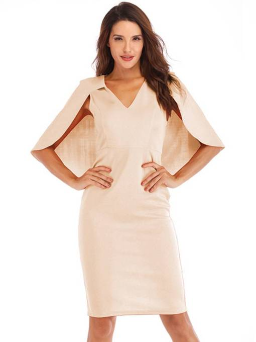 Cap Shoulder Elegant Plain Pencil Bodycon Dress