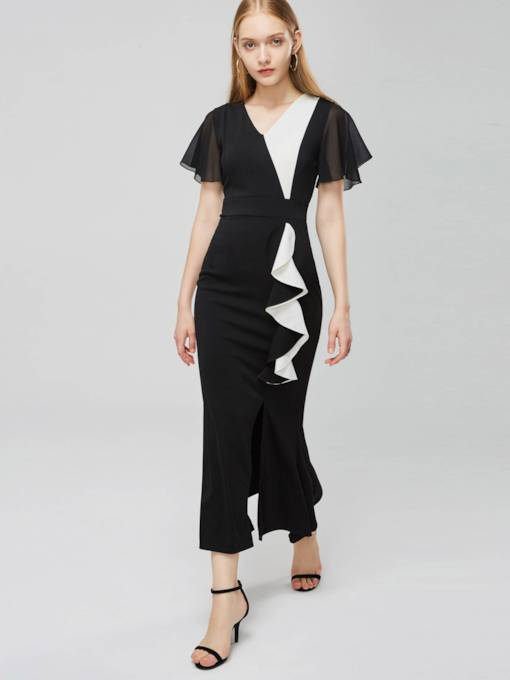 Short Sleeve Color Block Women's Maxi Dress