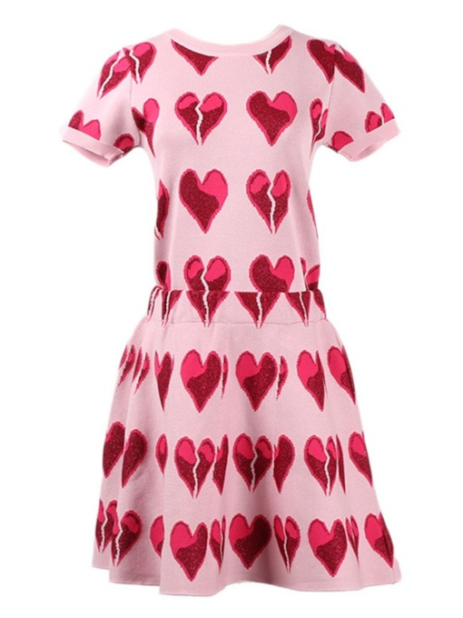 Heart Print T-Shirt and Skirt Women's Two Piece Set