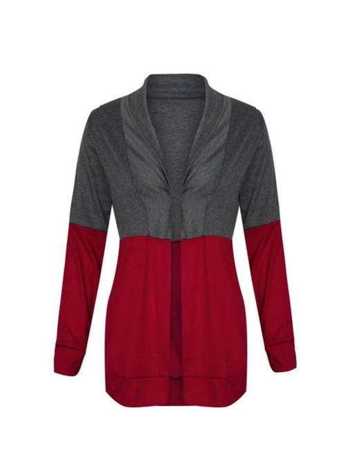 Open Front Color Block Women's Sweater Coat