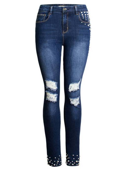 Bead Patchwork Knee Ripped Women's Destroyed Jeans