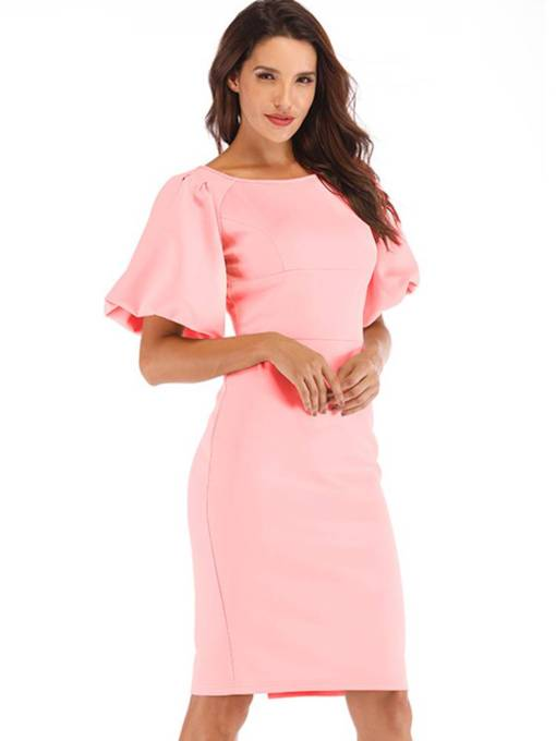 Lantern Sleeve Elegant Plain Zip Bodycon Dress