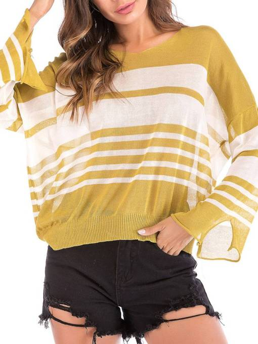 Batwing Sleeve Stripe Loose Women's Knit T-Shirt