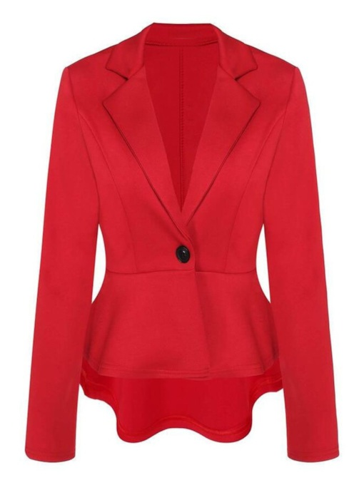 One Button Peplum Tight Waist Women's Blazer