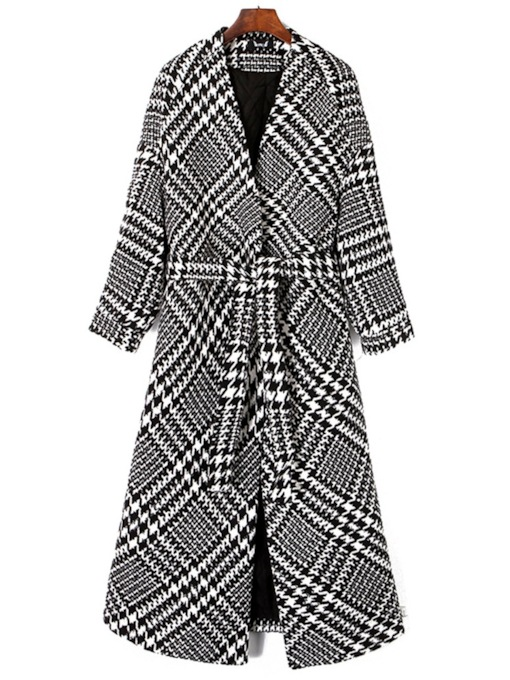 Vintage Lace Up Mid Length Women's Overcoat