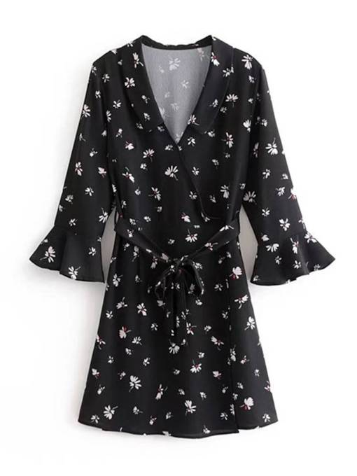 Flare Sleeve Prints Belt Casual Day Dress