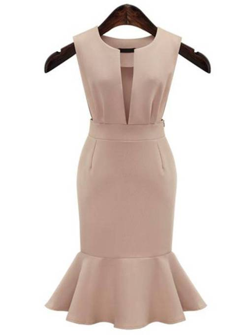 V Neck Elegant Plain Pocket Bodycon Dress