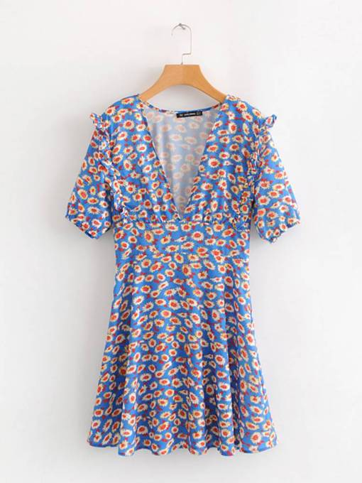 V Neck Short Sleeve Prints Floral Day Dress