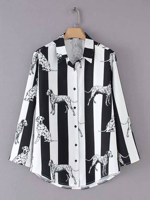 Animal Stripe Print Single-Breasted Women's Shirt