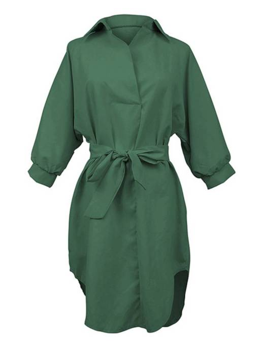 Polo Neck Plain Belt Split Day Dress