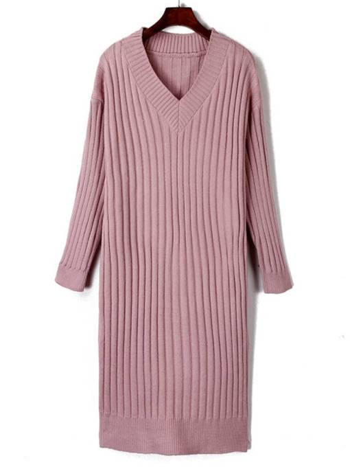 V Neck Plain Casual Sweater Dress